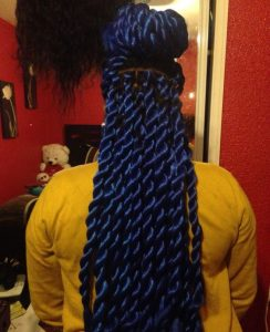 chunky blue rope twists