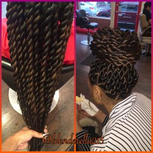 chunky rope twists high bun