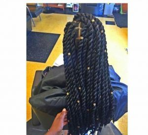 chunky rope twists with gold beads