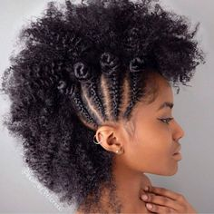 frohawk with cornrows and bantu knots