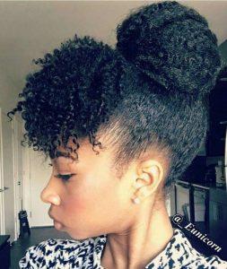 high bun with curly bangs