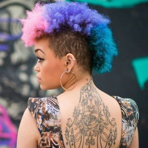 rainbow frohawk with shaved sides