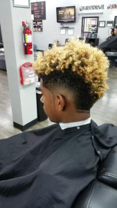 Curly Blonde Burst Fade