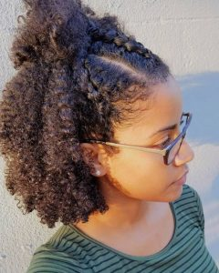 Half Up Half Down Braid Out With Cornrows