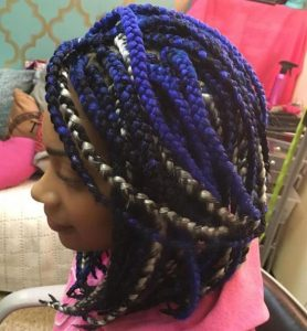 Multi-Colored Box Braid Bob