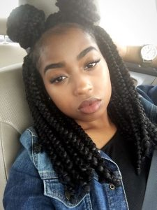 Short Box Braids With Double Buns
