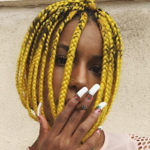 Short Yellow Box Braids