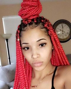 Bright Red Box Braids With Half Up High Bun