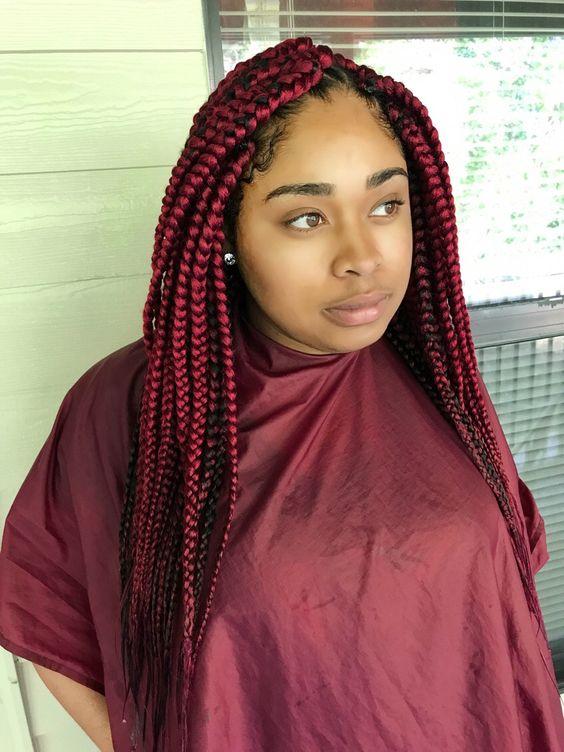 30 Awe-Inspiring Red Box Braids Hairstyles You Will Love!