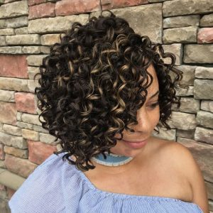 Spiral Curl Crochet Braids With Highlights