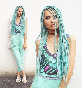 Aqua-Colored Box Braids
