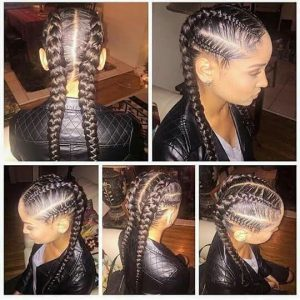 Chunky Feed In Cornrows