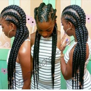 Feed In Braids With Zig Zag Parts