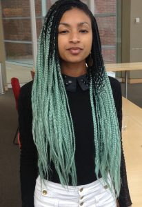 Light Green Ombre Box Braids