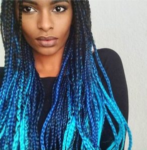 Multi-Colored Blue Box Braids