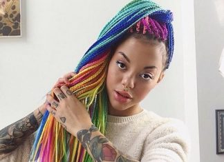 Rainbow Box Braids High Ponytail