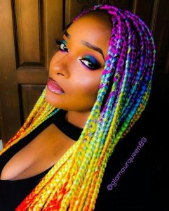 Rainbow Colored Box Braids