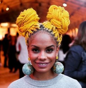 Yellow Box Braids Double Buns