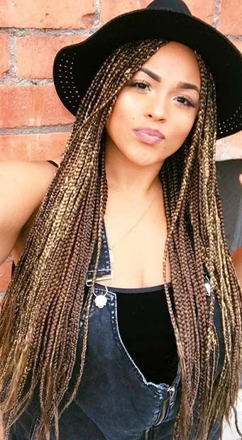 brown and black box braids