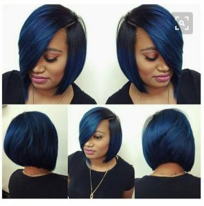 sew in bob with a touch of blue