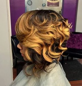 two toned curly bob