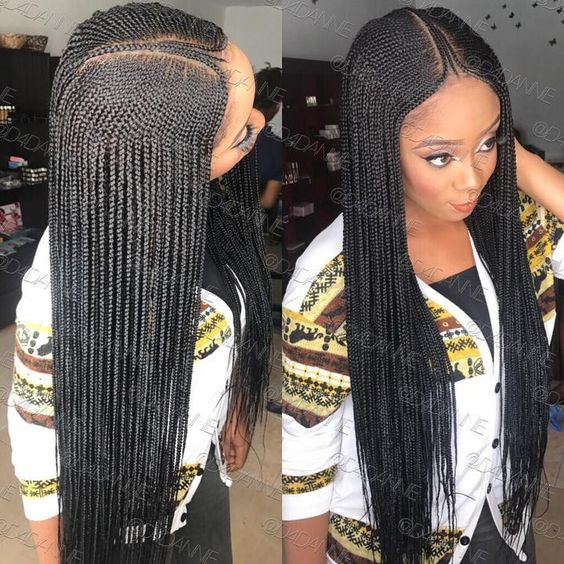 Braid Hairstyles For Black Girls: Lemonade Braids With Middle Part