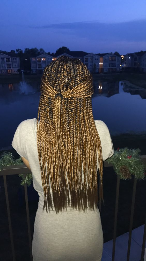 These Pretty Golden Brown Box Braids Fall Right Around The