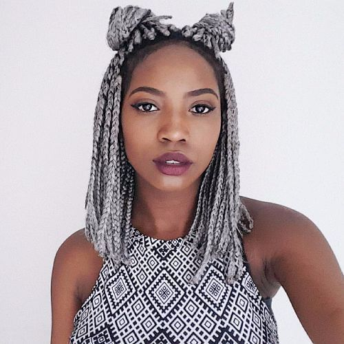 Short Grey Box Braids With Double Buns