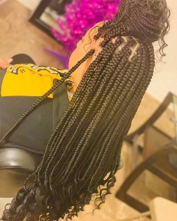 Small Box Braids With Curly Ends