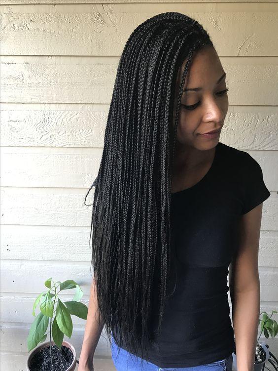 Small Waist Length Box Braids